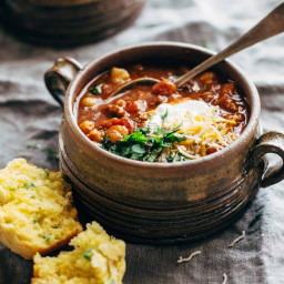 Spicy Posole with Cheesy Jalapeño Cornbread Muffins