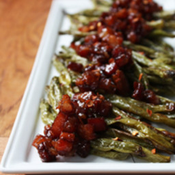 Spicy Roasted Green Beans with Bacon Candy