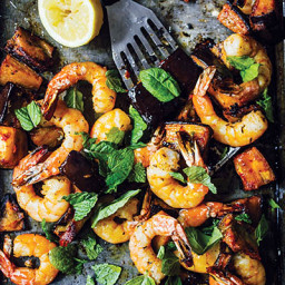Spicy Roasted Shrimp with Eggplant and Mint