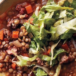 Spicy-Sausage and Lentil Stew With Escarole Salad