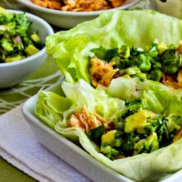 Spicy Shredded Chicken Lettuce Wrap Tacos with Avocado Salsa (Slow Cooker o