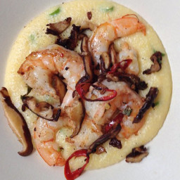 Spicy Shrimp and Shiitake Mushrooms with Creamy Polenta