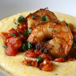 Spicy Shrimp Over Creamy Polenta