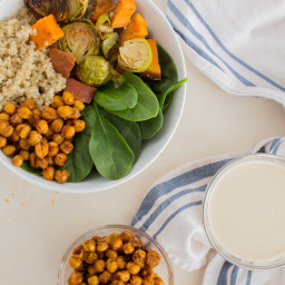 Spicy Sweet Roasted Chickpeas, Garlic Tahini Dressing, and Quinoa Power Bow