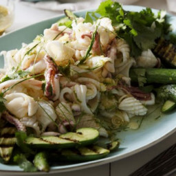 Spicy Thai squid salad with charred cucumber