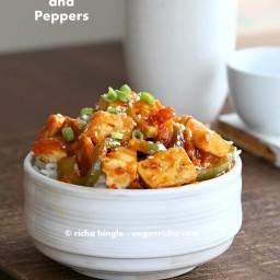 Spicy Vegan Orange Tofu and Peppers. Glutenfree Recipe