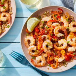 Spicy Veracruz-Style Shrimp with Lime Farro