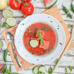Spicy Watermelon Gazpacho Soup