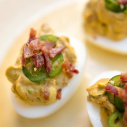 Spicy Bacon and Avocado Deviled Eggs