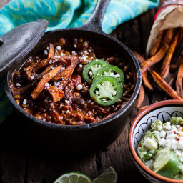 Spicy Black Bean and Lentil Chili with Cotija Guacamole + Chipotle Sweet Po