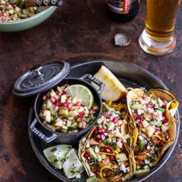 Spicy Cider Beer Braised Chicken Enchilada Tacos w/Sweet Chili Apple-Pomegr