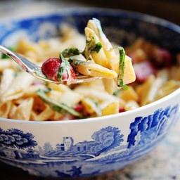 Spicy Pasta Salad with Smoked Gouda, Tomatoes, and Basil