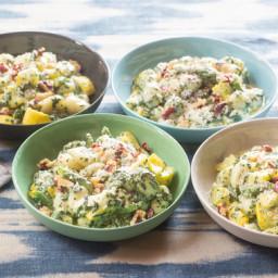 Spinach & Basil Pesto Gnocchi with Summer Squash, Green Beans & Fre