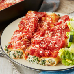 Spinach & Ricotta Cannelloni with Little Gem & Marinated Shallot Sa