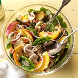 Spinach and Bacon Salad with Peaches Recipe