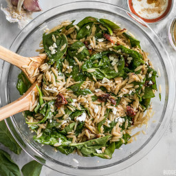 Spinach and Orzo Salad with Balsamic Vinaigrette