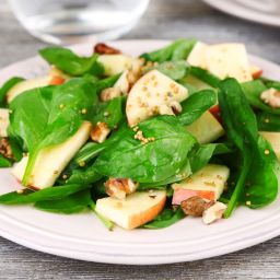 Spinach, Apple, Walnut Salad with Balsamic Vinaigrette