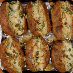 Spinach-artichoke baked potatoes