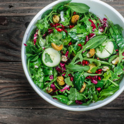 Spinach Arugula Salad with Chestnuts and Pomegranate