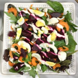 Spinach Beet Salad with Creamy Blue Cheese Dressing