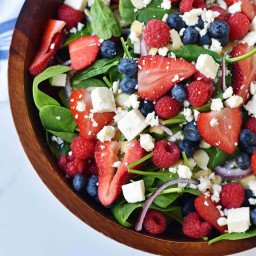 Spinach Berry Salad with Sweet Poppy Seed Dressing