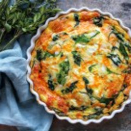 Spinach Cheddar and Feta Cheese Crustless Quiche