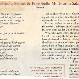 Spinach, Fennel, and Portobello Salad II