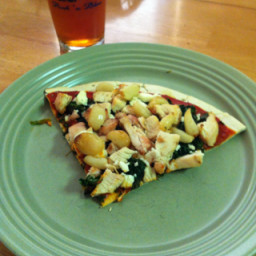 Spinach, Feta and Chicken Pizza with Garlic Bulbs