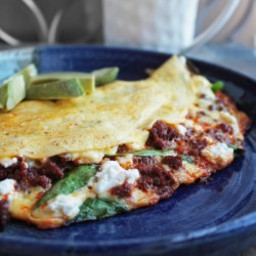 Spinach, Goat Cheese and Chorizo Omelette