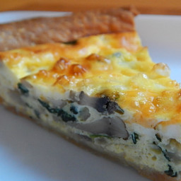 Spinach, mushroom and asiago quiche