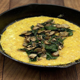 Spinach Mushroom Omelette with Parmesan