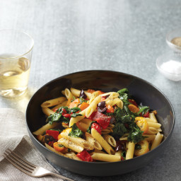 Spinach, Peppers, and Cherry Tomatoes with Penne Rigate