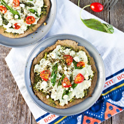 Spinach Pesto and Goat Cheese Individual Pizzas