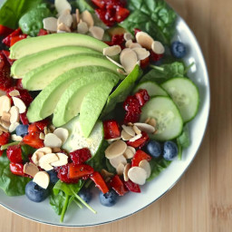 Spinach Salad with Berries, Avocado and Toasted Almonds