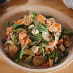 Spinach Salad with Smoked Salmon, Everything Bagel Croutons and Lemon-Caper