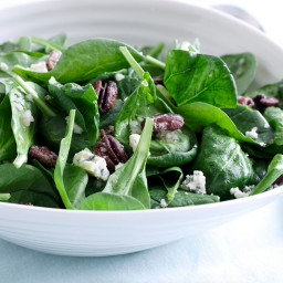 Spinach Salad with Sweet Roasted Pecans and Gorgonzola with Sherry Shallot