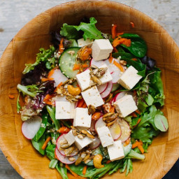 Spinach, Tofu, and Shaved Carrot Salad with Sesame Dressing and Spiced Pepi