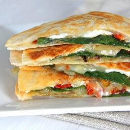 Spinach  and  Goat Cheese Quesadillas with Caramelized Onions and Sundried