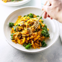 Spiralized Butternut Pasta with Mushrooms and Sage
