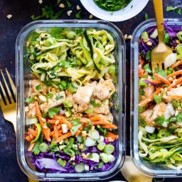 Spiralized Pad Thai Chicken Meal Prep Bowls