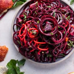 Spiralized Raw Beet Salad with Blood Oranges
