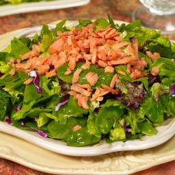 Spring Greens with Salmon and Apricot-Ginger Vinaigrette