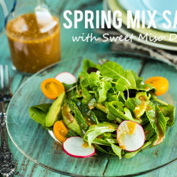 Spring Mix Salad with Sweet Miso Dressing