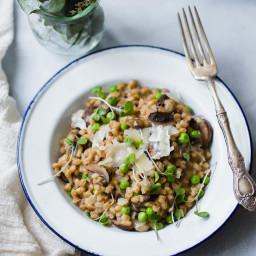 Spring Pea and Mushroom Farro Risotto