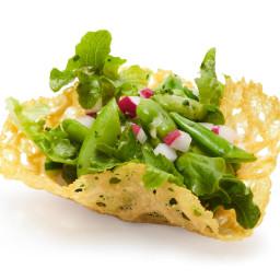 Spring Salad in Parmesan Cups