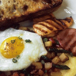 Spring Vegetable Hash with Fried Eggs