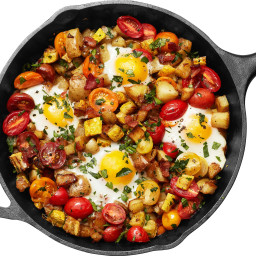 Squash and Bacon Hash with Eggs