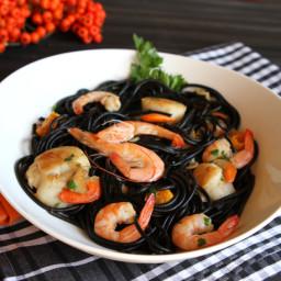 Squid Ink Pasta With Shrimp and Scallops Recipe