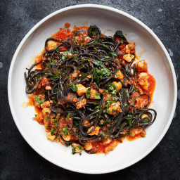 Squid Ink Pasta with Shrimp, Nduja, and Tomato
