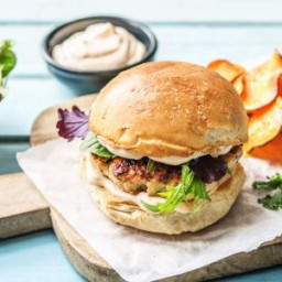 Sriracha Turkey Burgers with Sweet Potato Chips and Ginger-Dressed Greens